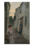 Street Scene with Figure, Cornwall (Oil on Boad)