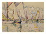 Departure of Tuna Boats at Groix (W/C on Paper)