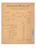 Sales Statement of Durand-Ruel Regarding Claude Monet, 1891