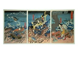 The Death of Tomomori at the Battle of Dan-No-Ura, 1185, Pub. C.1844, (Colour Woodblock Print)