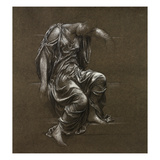 Drapery Study for 'In Memoriam' (Black Chalk Heightened with White on Brown Paper)