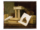Still Life of Books and a Rembrandt Engraving (Oil on Canvas)