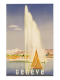 Advertisement for Travel to Geneva, C.1937 (Colour Litho) Giclee Print