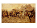 The Charge of the Bengal Lancers at Neuve Chapelle (Oil on Canvas)