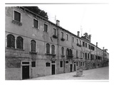 Row of Houses on the Calle Riello, Venice (B/W Photo)
