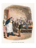 Oliver Asking for More, Illustration for 'Oliver Twist' by Charles Dickens (Colour Litho)