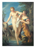 The Bather and Her Maid (Oil on Canvas)