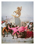 New York Patriots Pull Down the Statue of George Iii at Bowling Green, 9th July 1776, 1854