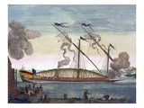 A Royal Galley (Spanish or Portuguese) Rowed by Slaves, Firing a Signal, from 'Le Naptune Francois'
