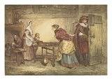Royalists Seeking Refuge in the House of a Puritan, Engraved by J.D. Cooper (Coloured Engraving)
