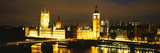 Buildings Lit Up at Night, Westminster Bridge, Big Ben, Houses of Parliament, Westminster, Londo...