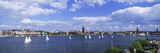 Sailboats in a Lake with the City Hall in the Background, Riddarfjarden, Stockholm City Hall, St...