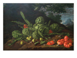 Still Life with Artichokes, Tomatoes in Landscape
