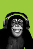 Chimpanzee-Headphones Poster