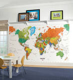World Map Chair Rail Prepasted Mural 6' x 10.5' Wall Mural