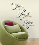 Live Love Laugh Peel & Stick Wall Decals Live Well-Love Often-Love Much Peel & Stick Single Sheet Live, Love and Laugh Live Laugh Love (gold foil) Live Every Moment