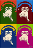 Steez Monkey Headphones Quad Pop-Art Poster