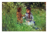 Woman and Child in Garden in Bougival Premium Poster