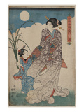 Full Moon over Woman and a Young Girl