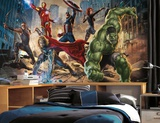 Avengers Chair Rail Prepasted Mural 6' x 10.5' - Ultra-strippable