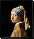 Girl with a Pearl Earring, circa 1665-6 Framed Canvas Print