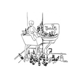 New Year's baby is surrounded by empty liquor bottles. - New Yorker Cartoon