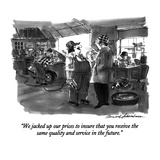 """We jacked up our prices to insure that you receive the same quality and s?"" - New Yorker Cartoon"