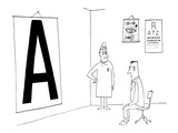 Patient reading giant eye chart in doctors office. - New Yorker Cartoon