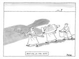 Three men are seen carrying giant tools of oral hygiene: a toothbrush, too… - New Yorker Cartoon