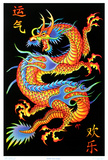 Asian Dragon Flocked Blacklight Poster