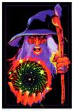 Mystic Wizard Flocked Blacklight Poster