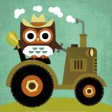Owl on Tractor Art Print