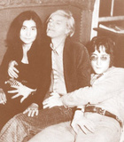 John Lennon, Yoko Ono, and Andy Warhol - Sepia Photo