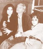 John Lennon, Yoko Ono, and Andy Warhol - Sepia Photo Poster