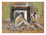 Nude Near a Fireplace