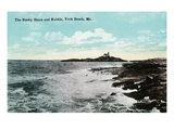 York Beach, Maine - Nubble Lighthouse, Rocky Shore Scene
