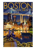 Boston, Massachusetts - Skyline at Night Art Print