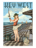 Key West, Florida - Fishing Pinup Girl