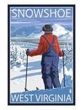 Buy Snowshoe, West Virginia - Skier Admiring View at AllPosters.com