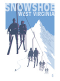 Buy Snowshoe, West Virginia - Skiers on Lift at AllPosters.com