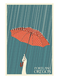 Portland, Oregon - Umbrella Art Print