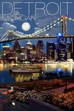Detroit, Michigan - Skyline at Night