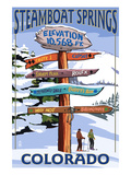Steamboat Springs, Colorado - Ski Run Signpost Art Print