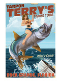 Buy Boca Grande, Florida - Pinup Girl Tarpon Fishing at AllPosters.com
