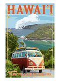 VW Van - Hawaii Volcanoes National Park Art Print