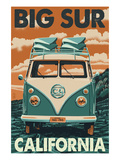 Big Sur, California - VW Van Blockprint Art Print