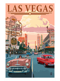 Las Vegas Old Strip Scene Art Print