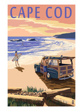 Cape Cod, Massachusetts - Woody on Beach Art Print