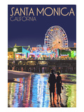 Santa Monica, California - Pier at Night Art Print