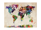 World Map Urban Watercolour